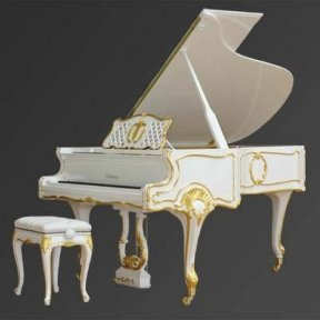 Рояль Julius Bluthner BLU S10 White, real gold, rococo