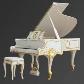 Рояль Julius Bluthner BLU S2 White, real gold, rococo